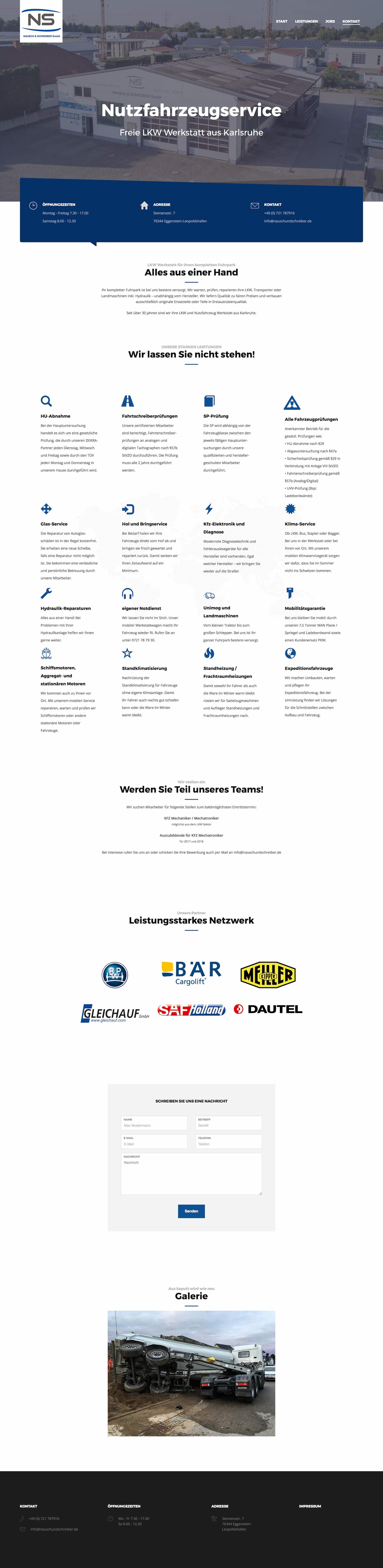 Website für die freie LKW Werkstatt in Karlsruhe Nausch und Schreiber