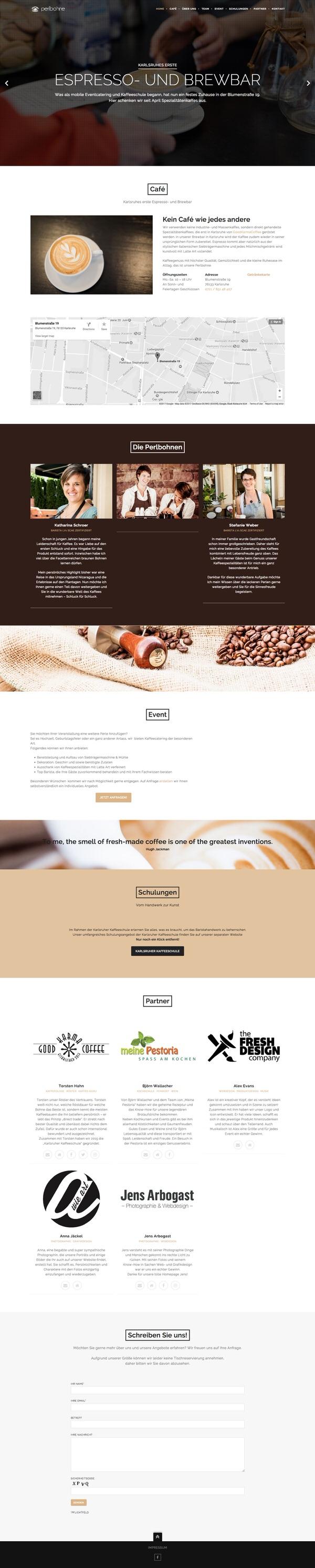 Webdesign für Perlbohne in Karlsruhe